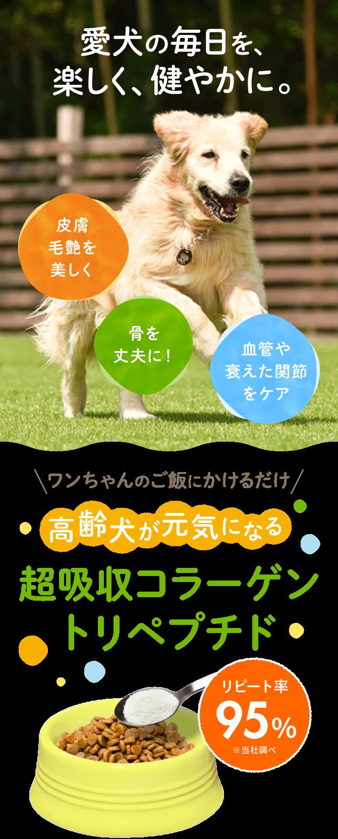 餌にかけるだけ 高齢犬が元気になる 超吸収コラーゲントリペプジド